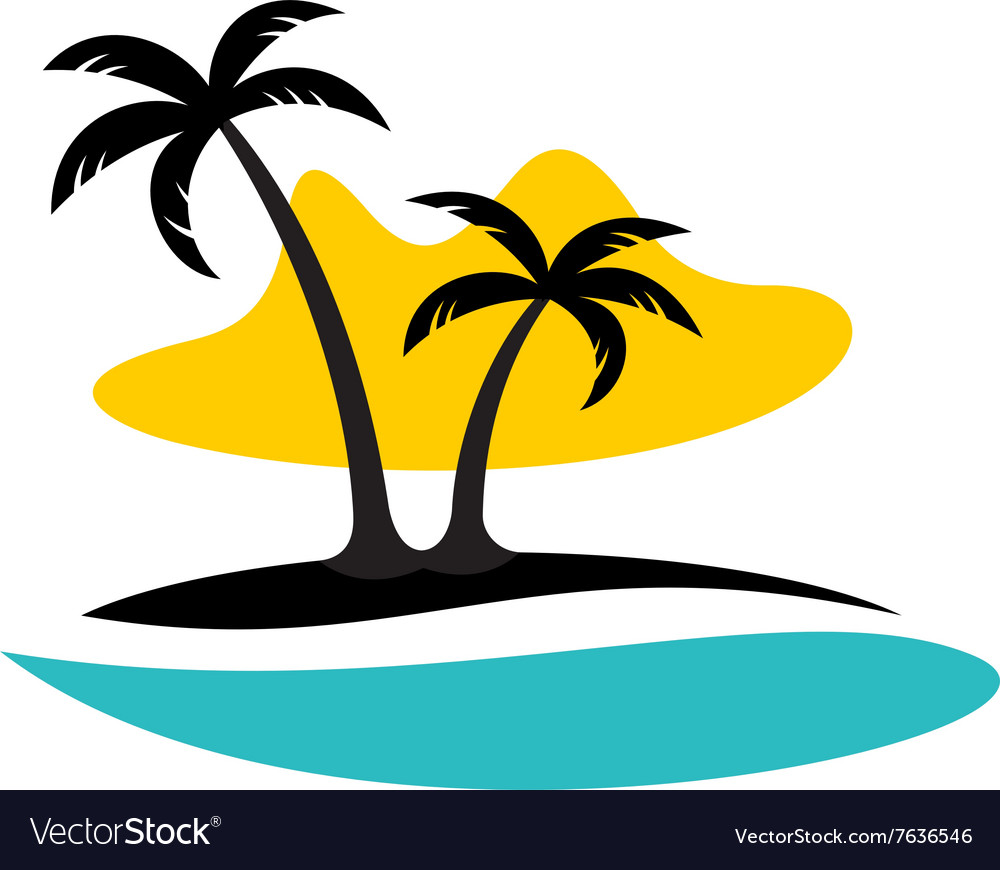 Island with palms sea and sun logo
