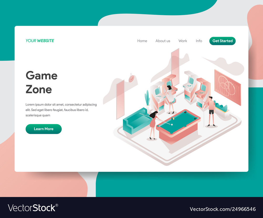 Landing page template game zone room concept