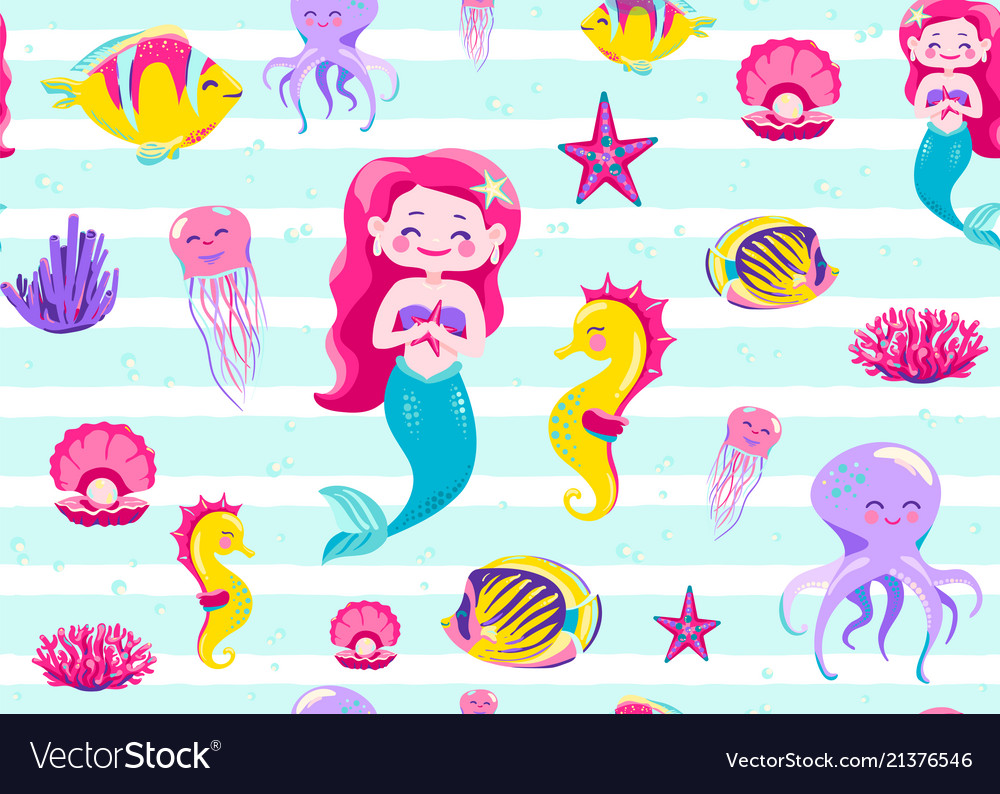 Mermaid pattern seamless