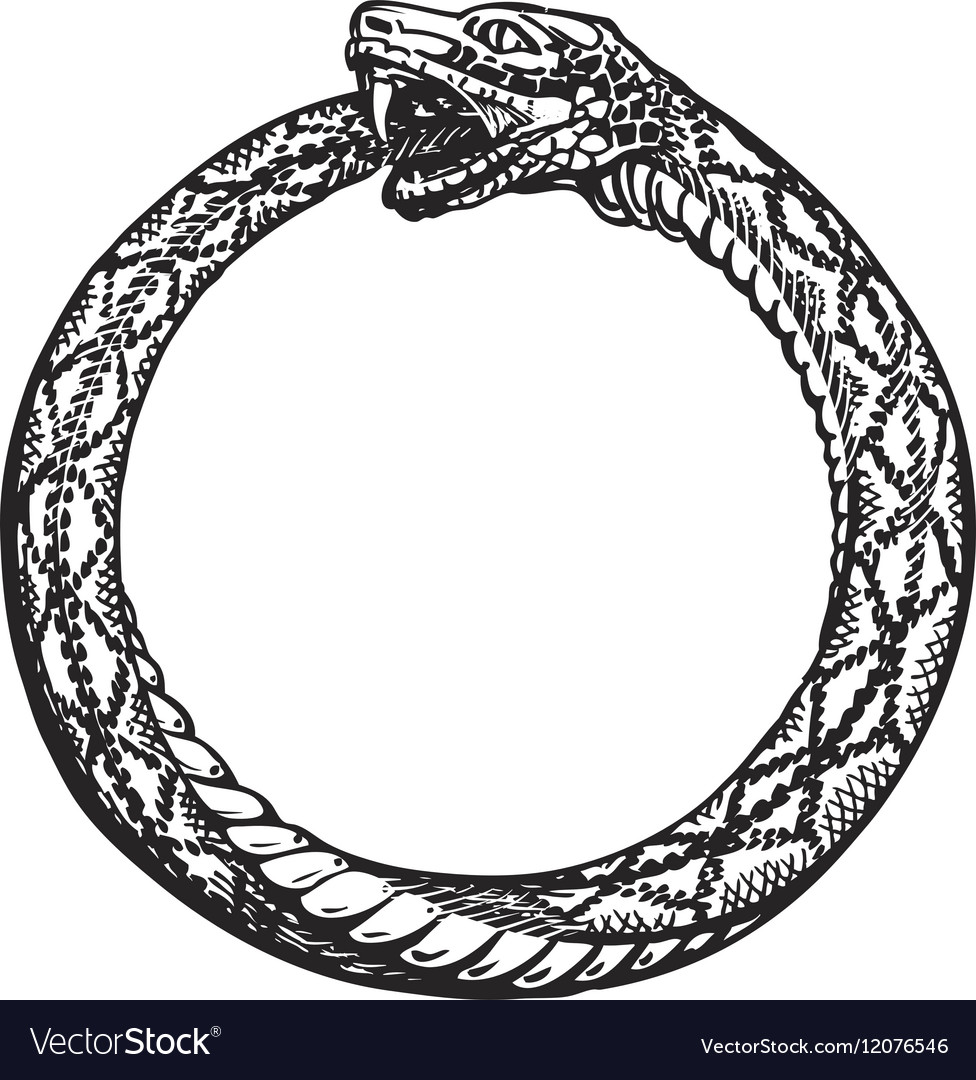 Ouroboros Snake Eating Its Own Tail Eternity Or Vector Image