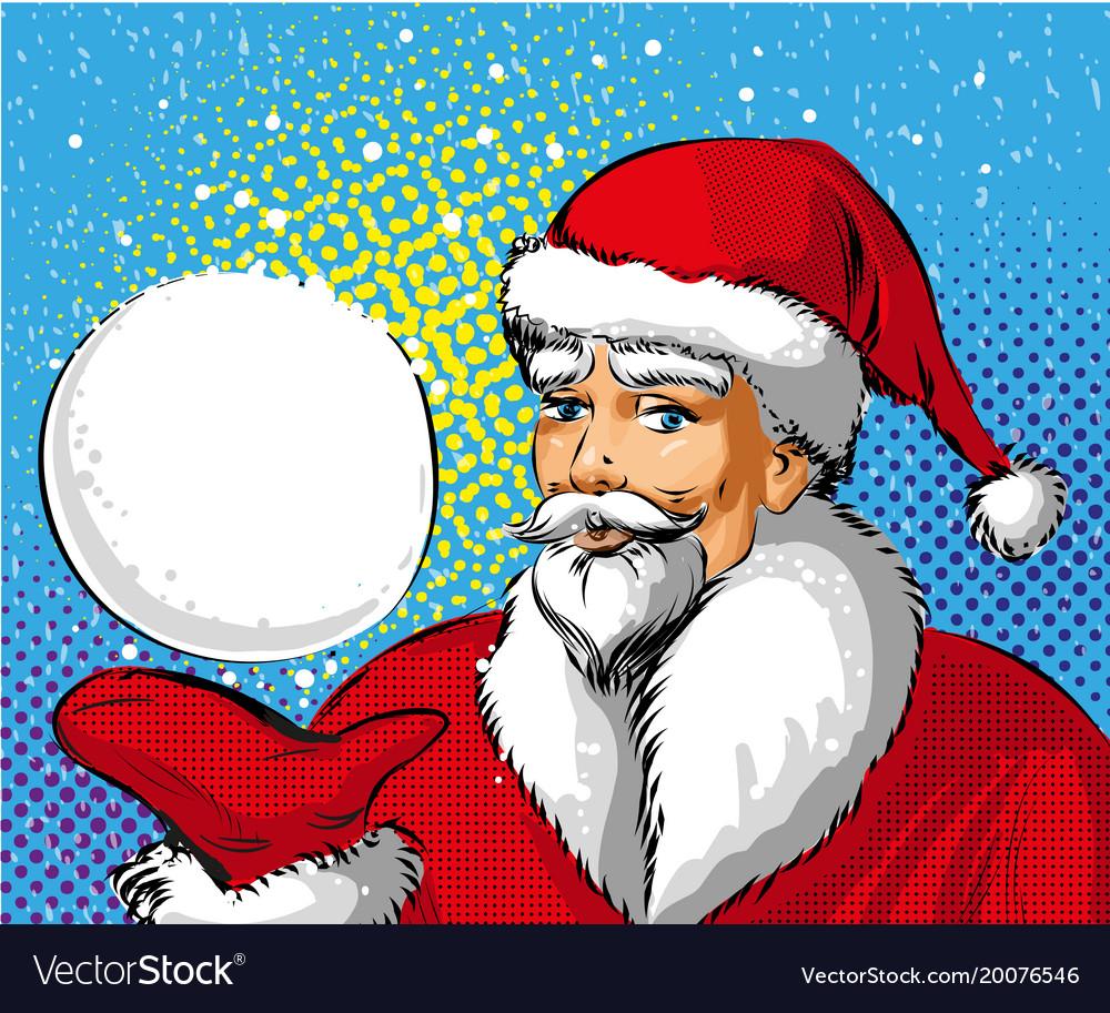 Pop art of santa claus showing
