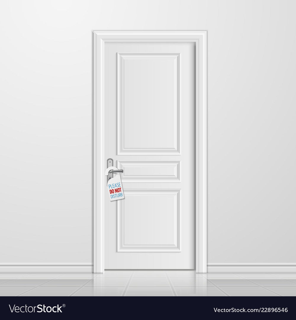 Realistic closed white entrance door with