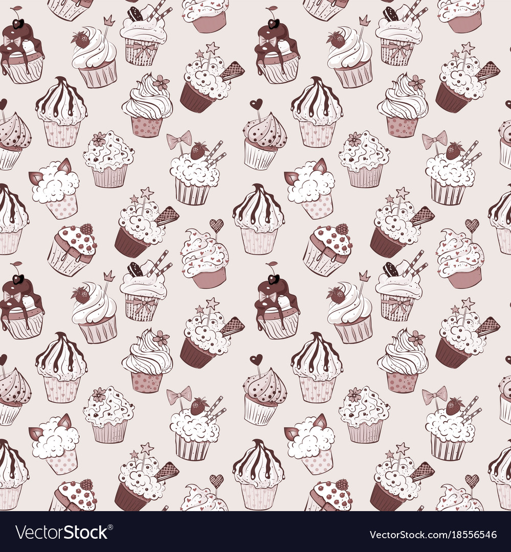 Seamless background with doodle sketch cupcakes in