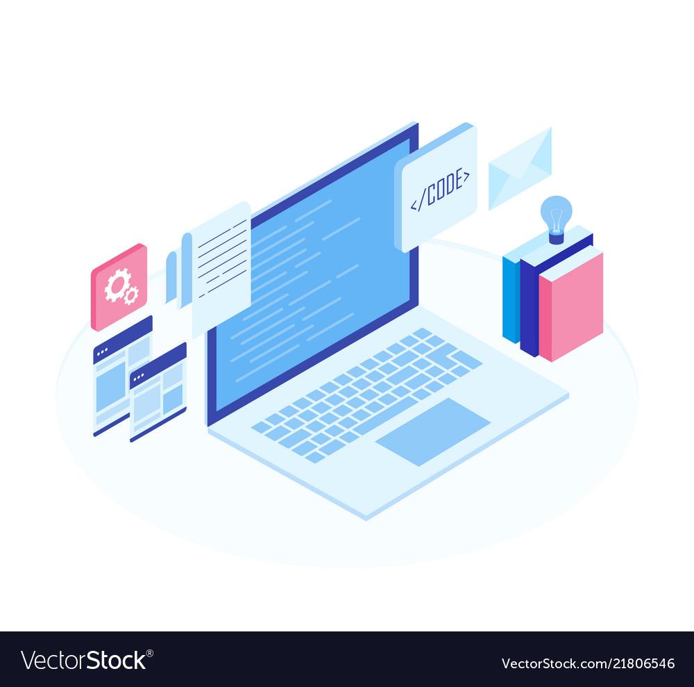Web development concept programming and coding