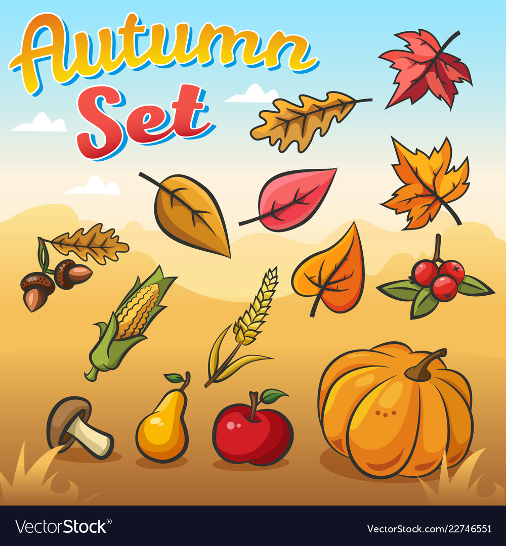 Autumn set with autumn leaves vegetables