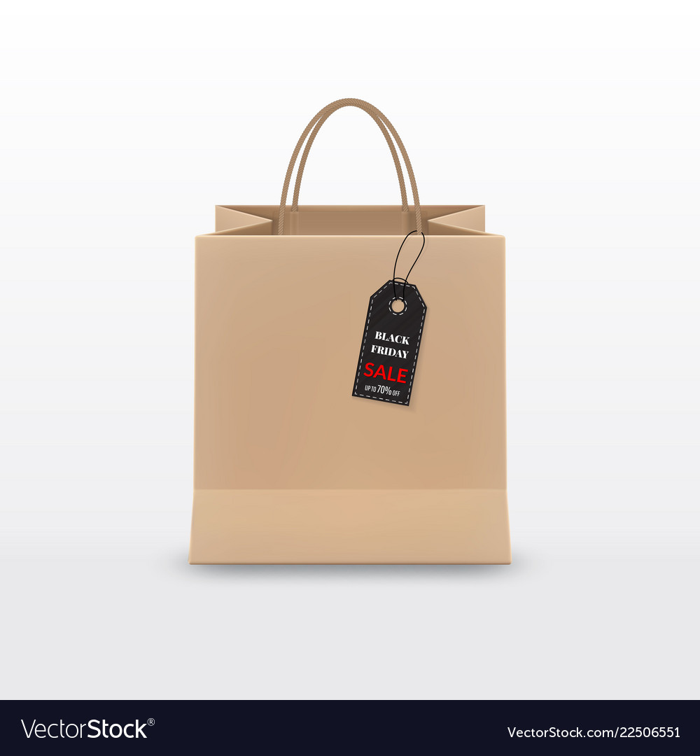 Black friday sale realistic brown paper shopping