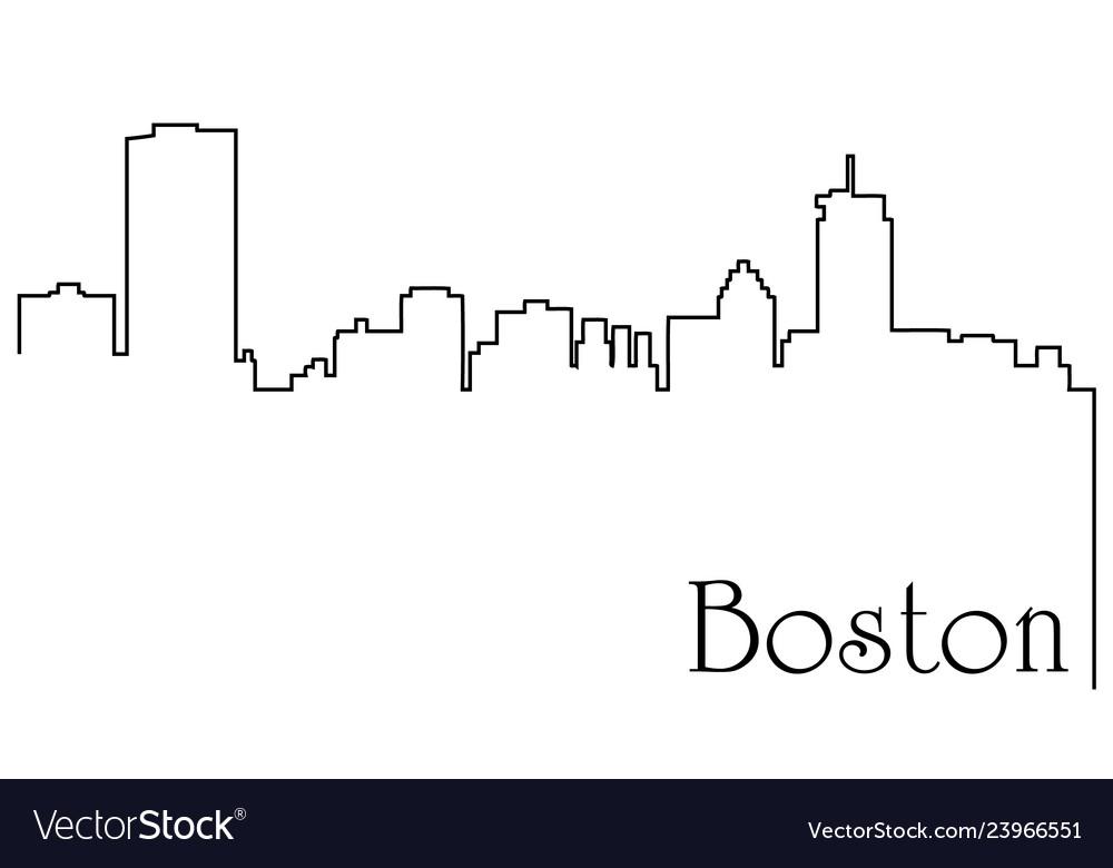 Boston city one line drawing