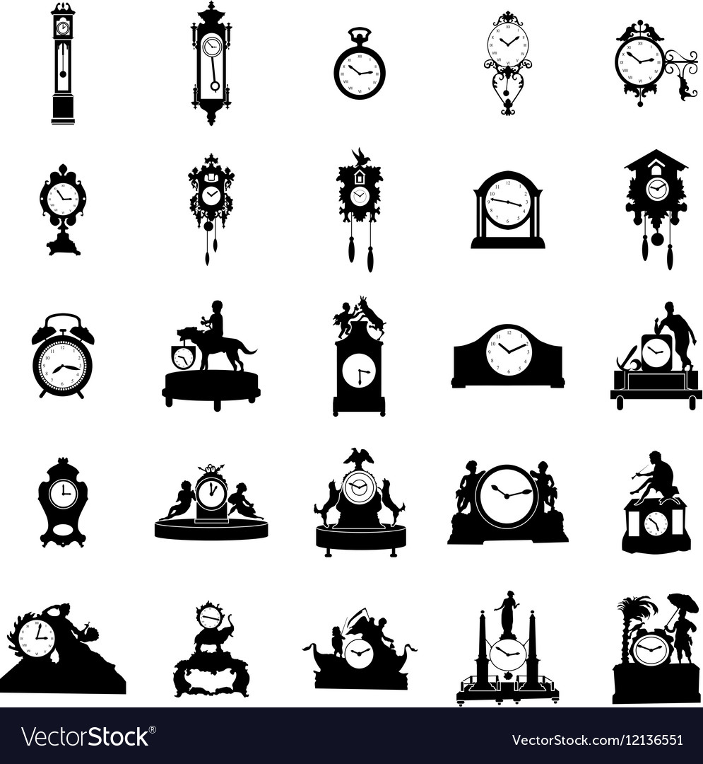 Clock of different shapes Silhouette