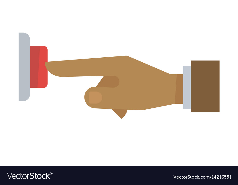 Hand pushing red button isolated on white