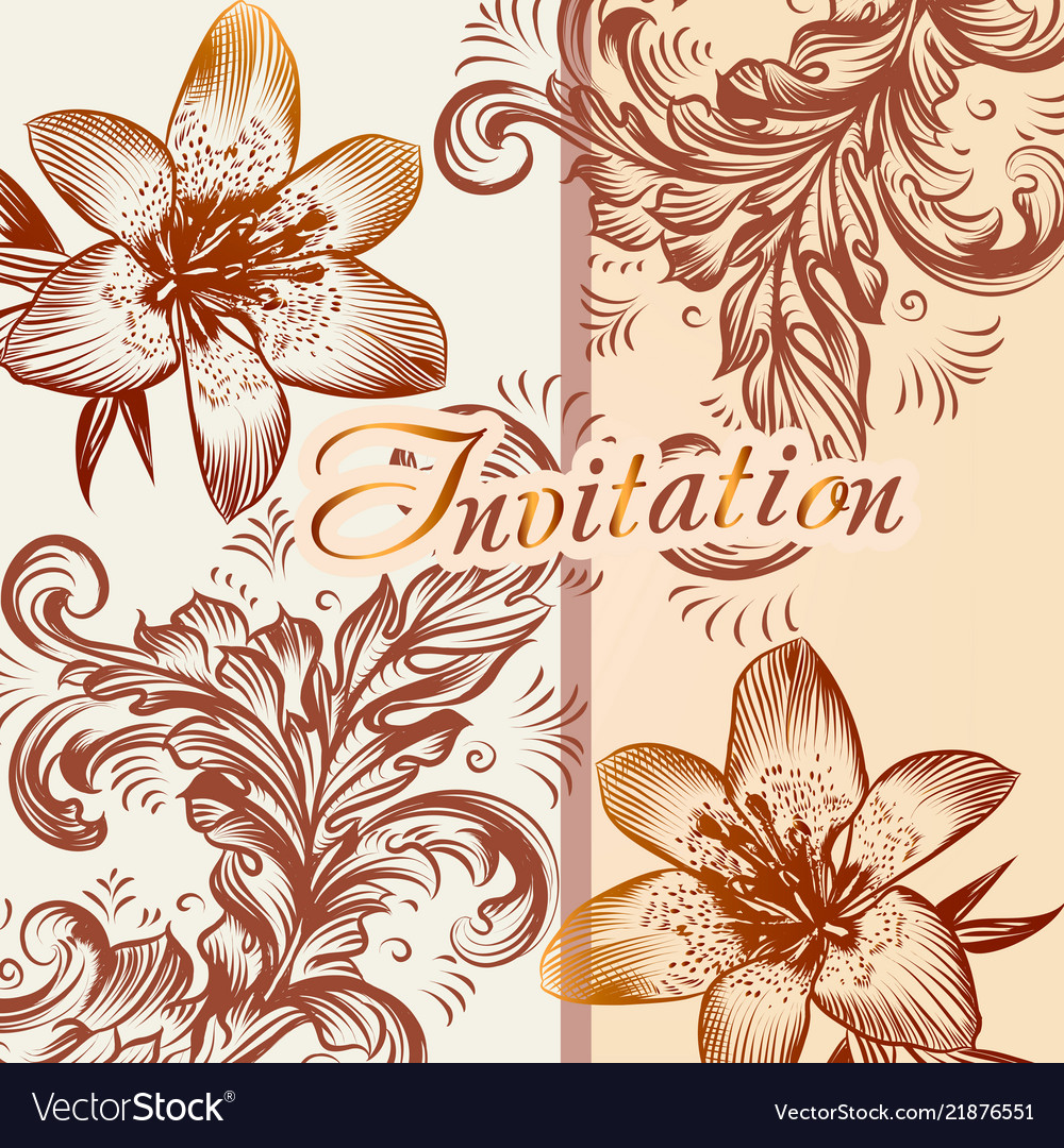 Invitation card with lily flowers in retro style