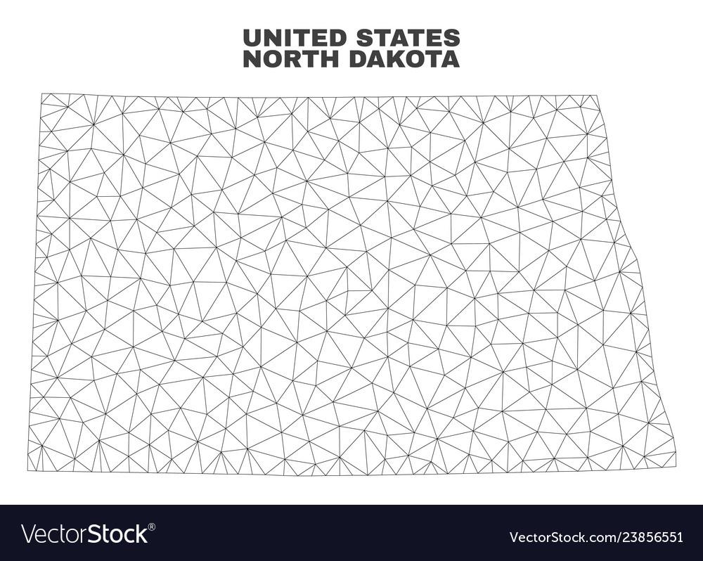Polygonal mesh north dakota state map Royalty Free Vector