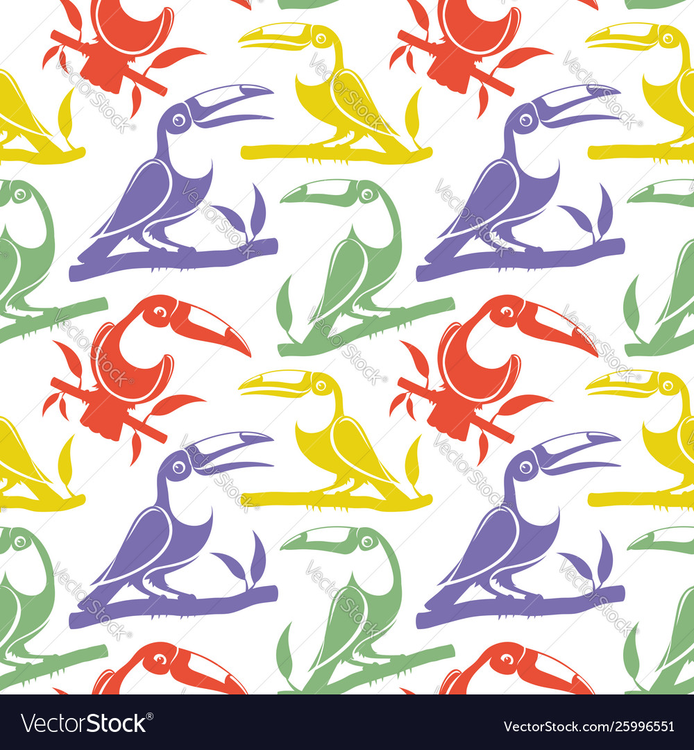 Seamless pattern with birds toucans on branches
