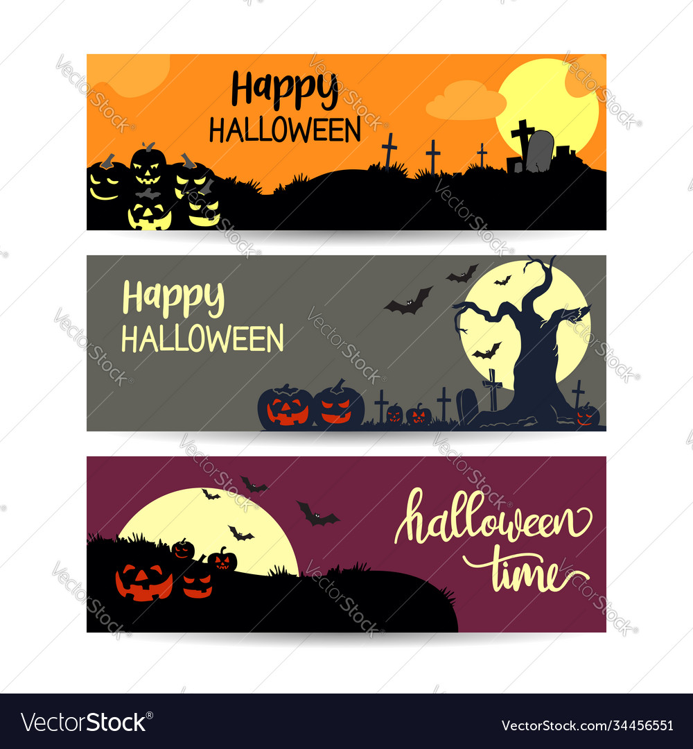 Set halloween sale banners layout design