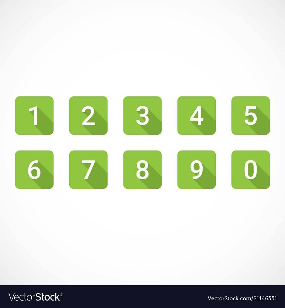 Set of green number icons