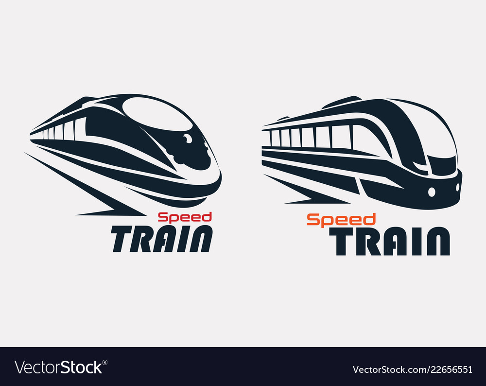 Speed train logo template stylized symbols set