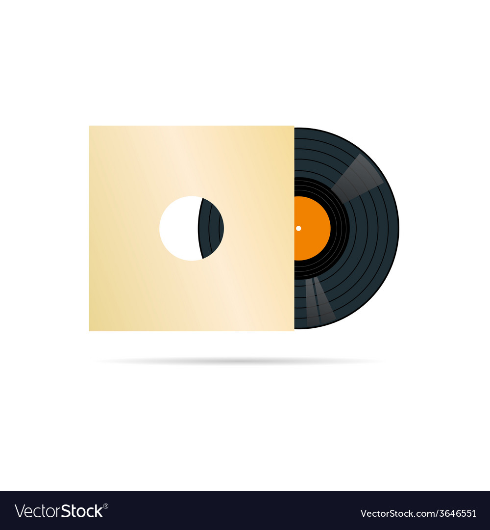 Vinyl record in blank cover vector image