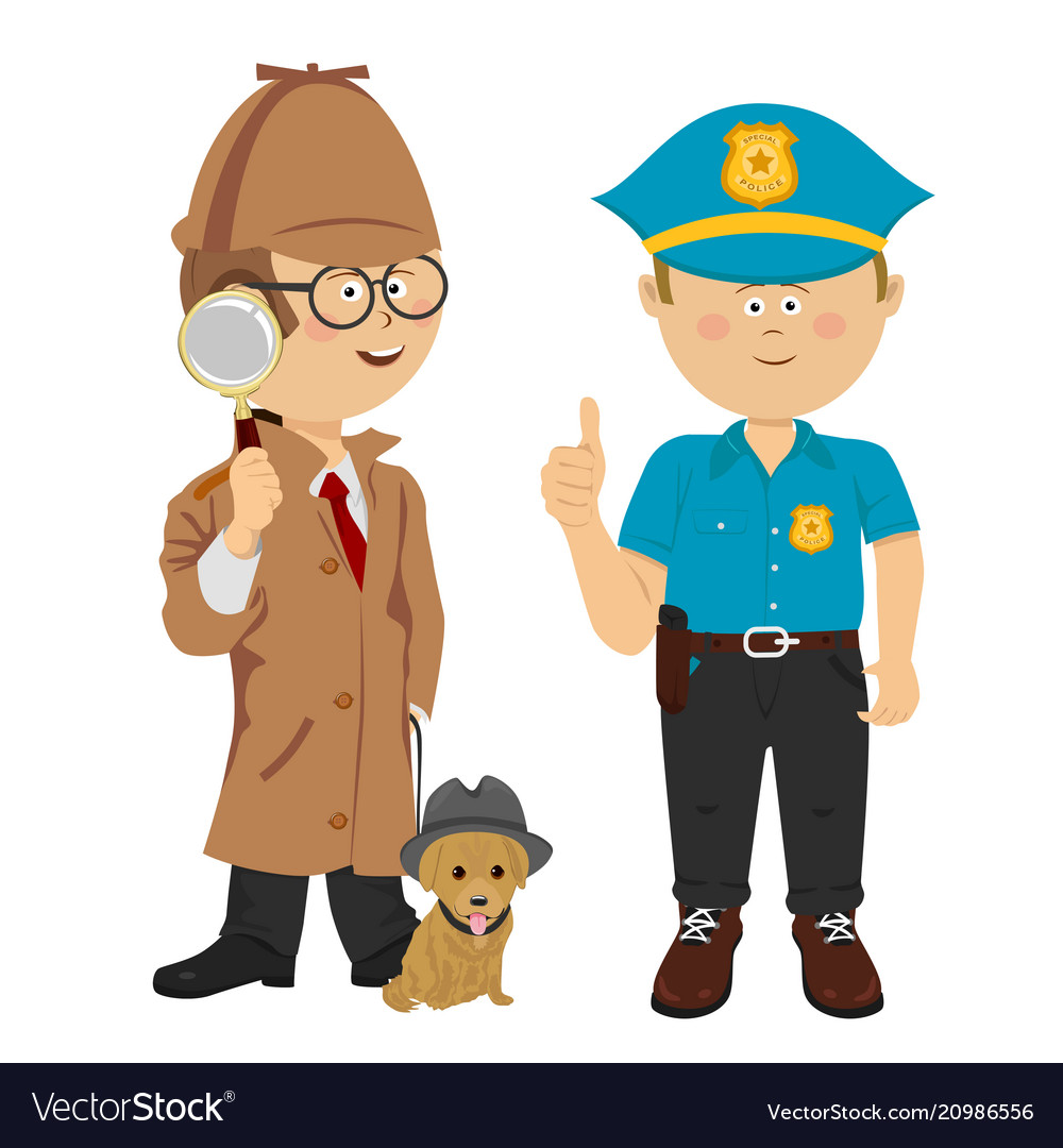 Boys wearing detective and policeman costumes