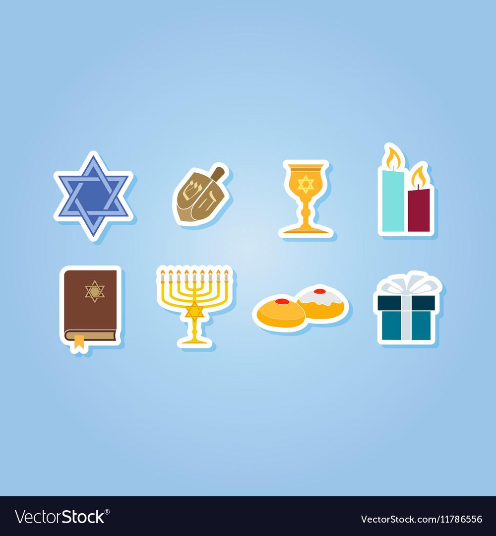 Color set with hanukkah symbol icons
