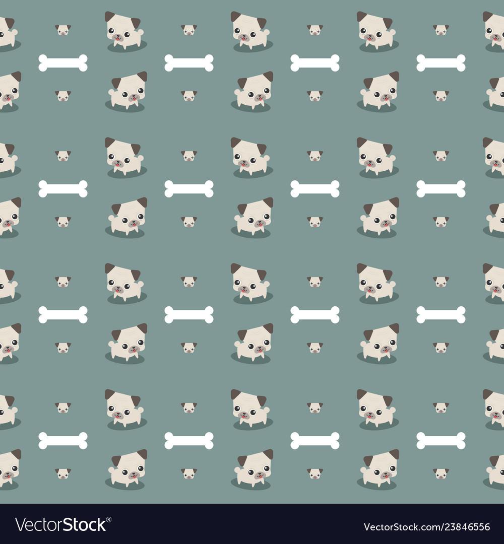 Cute pug dog with bone seamless pattern