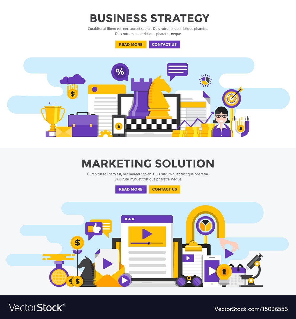 Flat design concept banners - business strategy
