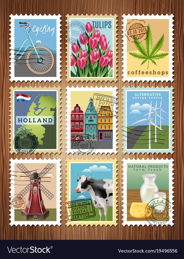 Holland travel stamps set poster