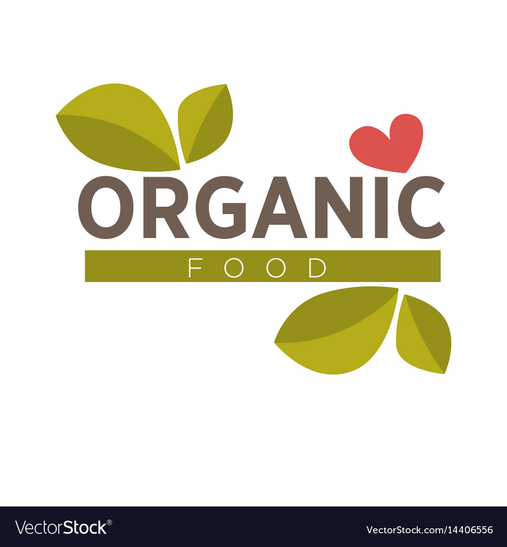 Organic food logo design with green leaves and red