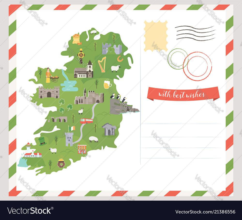 Map Of Ireland In Irish.Postcard Irish Map Symbols Of Ireland Royalty Free Vector