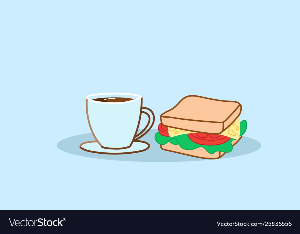 Sandwich with coffee cup tasty fast food lunch