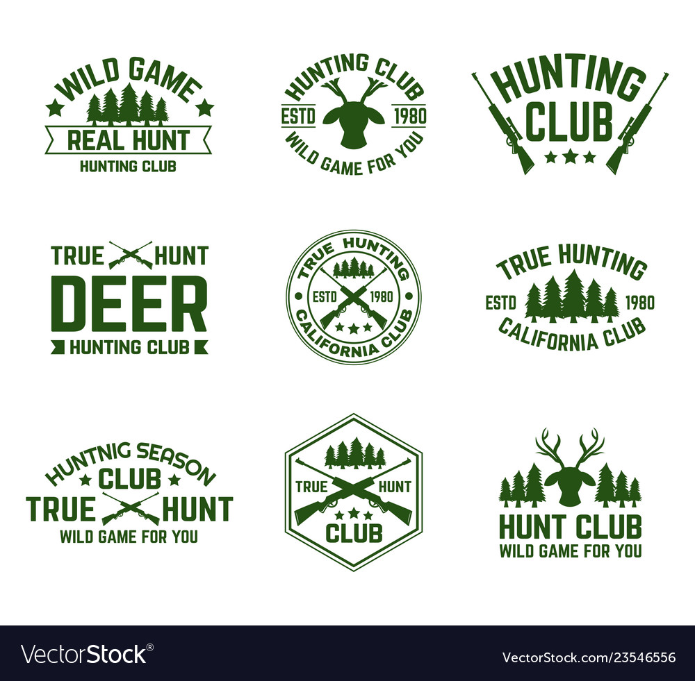 Set isolated hunting emblems with deer and guns