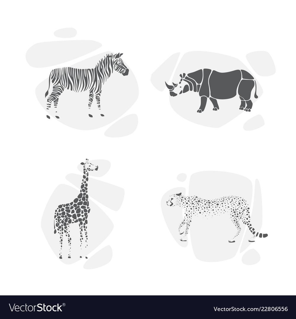 Set of silhouettes of animals safari