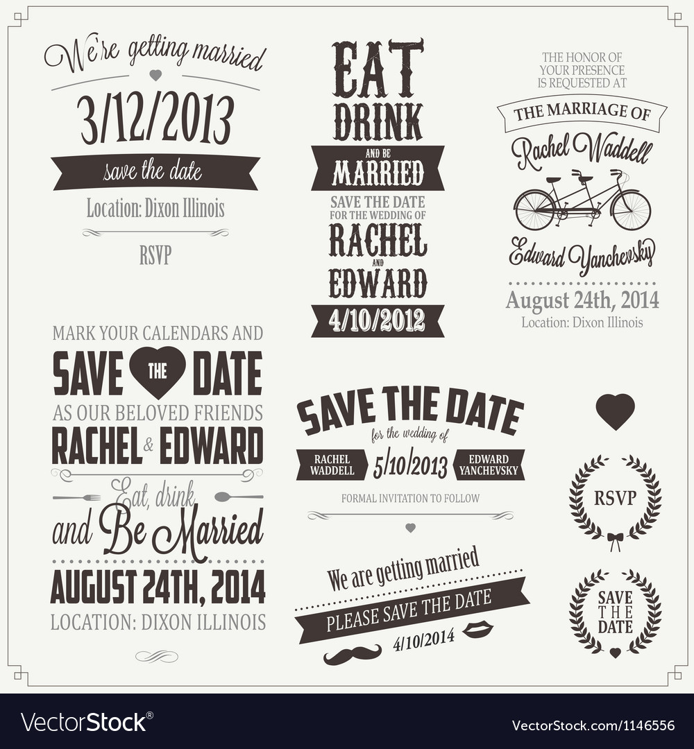 Set of wedding invitation vintage design elements