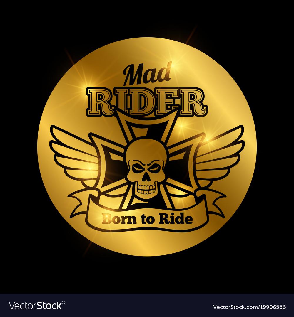 Skull motorbike rider emblem