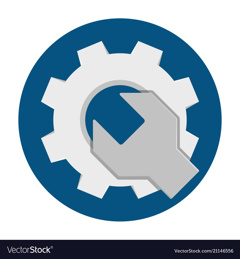 Wrench gear flat icon