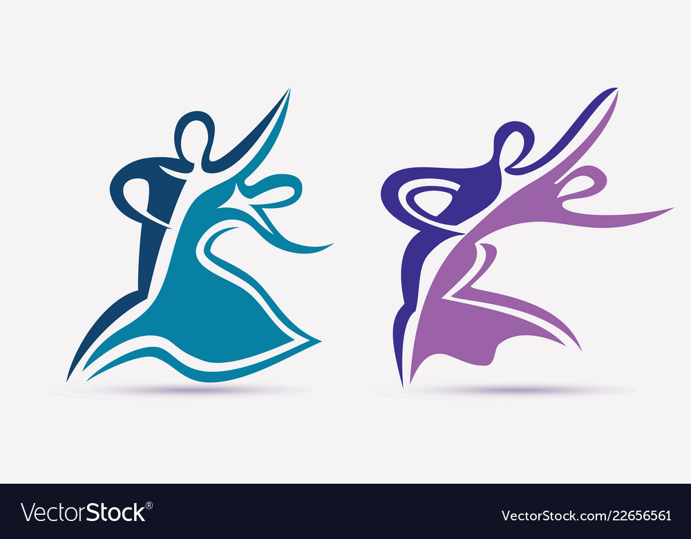Ballroom couple dance symbols collection stylized