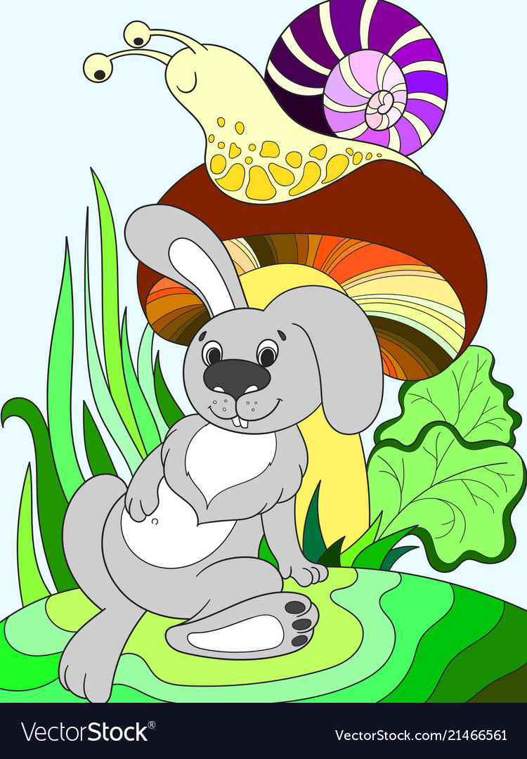 Childrens color cartoon animal friends in nature