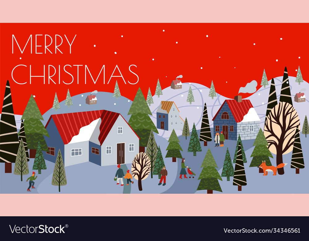 Christmas greeting card with winter mountain