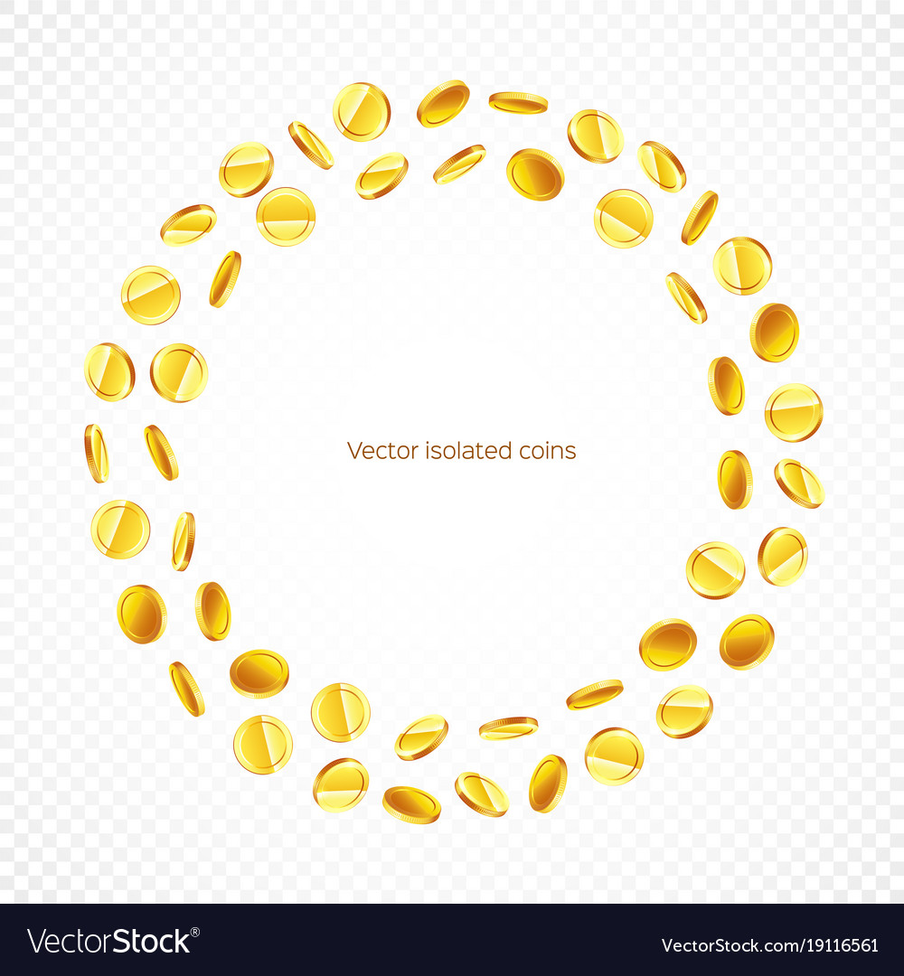a4f264297928 Circle frame gold coins isolated on transparent Vector Image