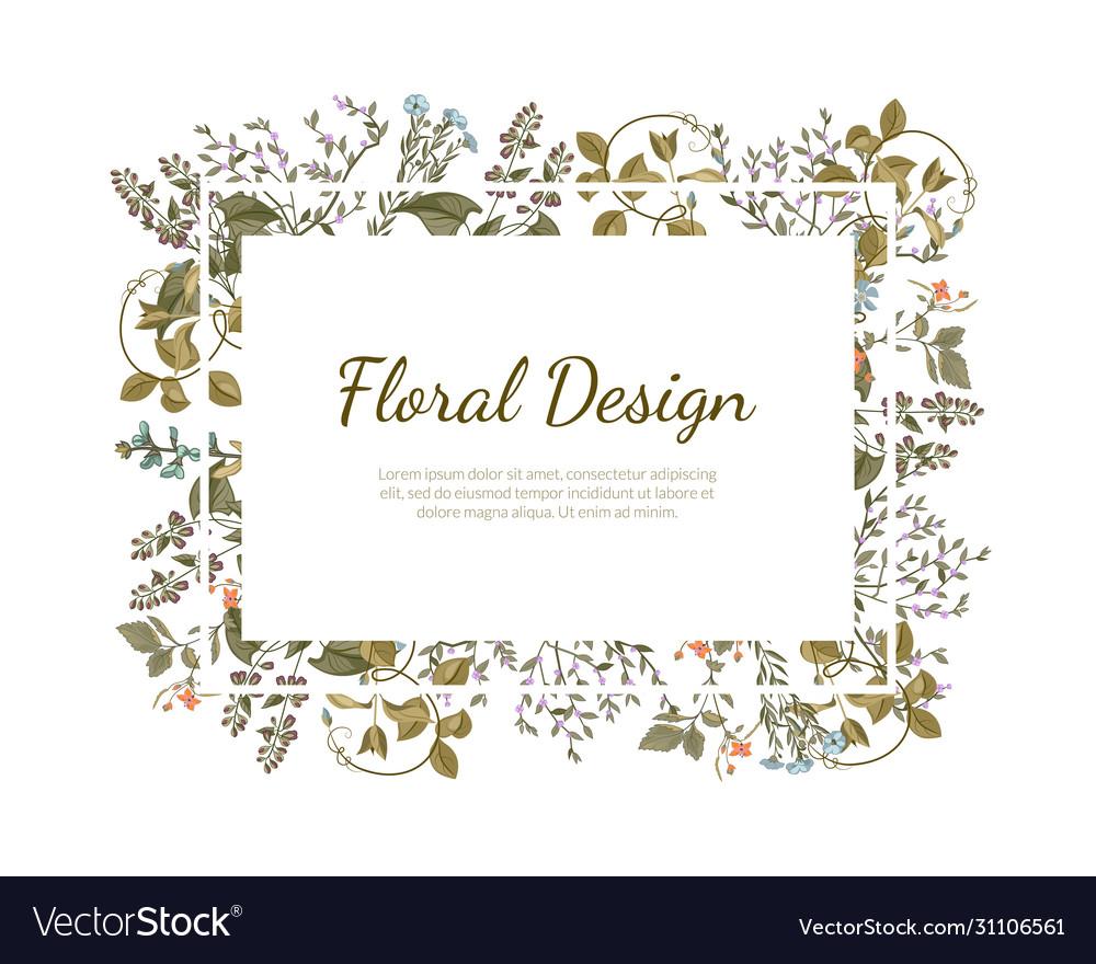Elegant floral design rectangular frame with place