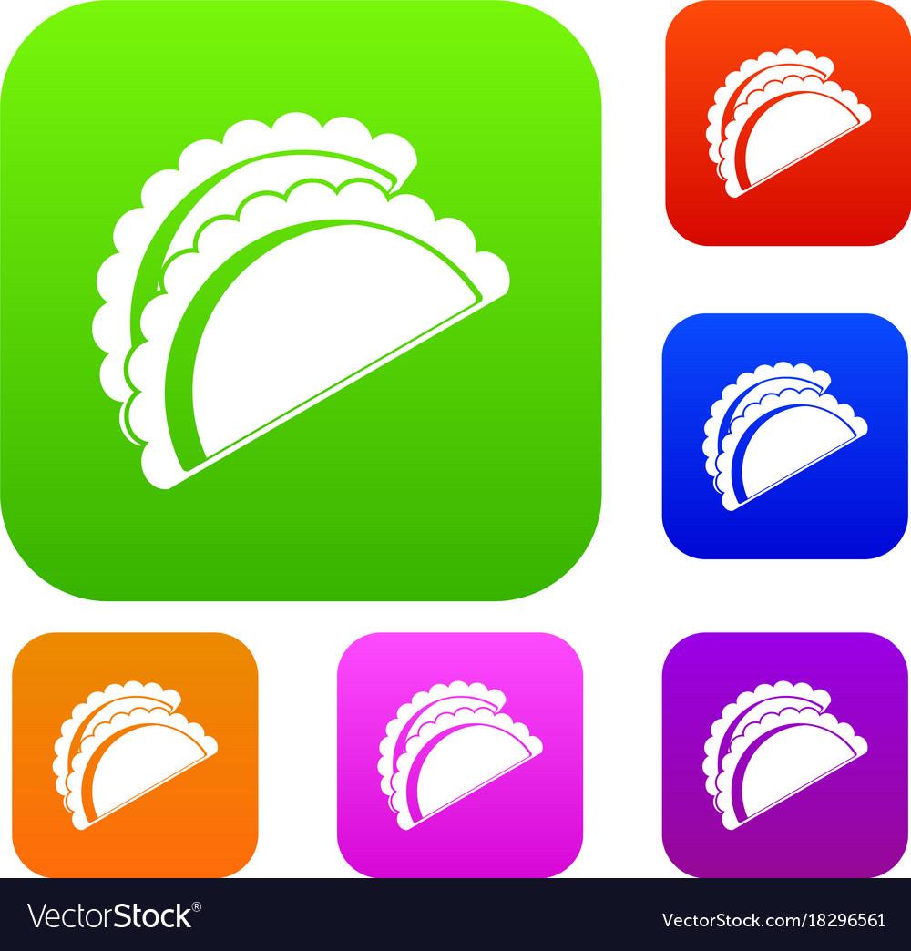 Empanadas de pollo set color collection Royalty Free Vector