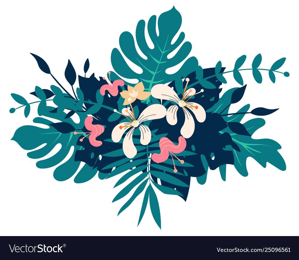 Exotic tropical floral bouquet