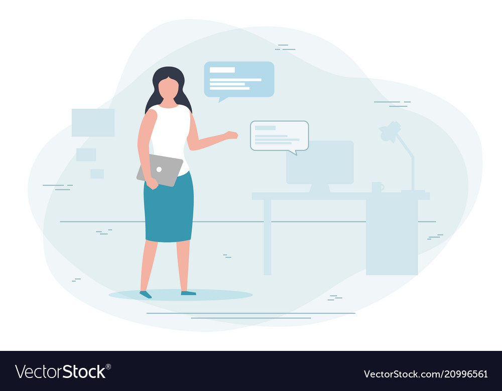 Girl working at home chat concept