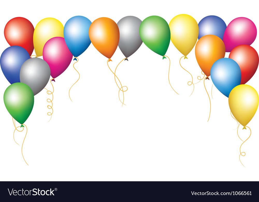 Holiday border of colourfull balloons vector image