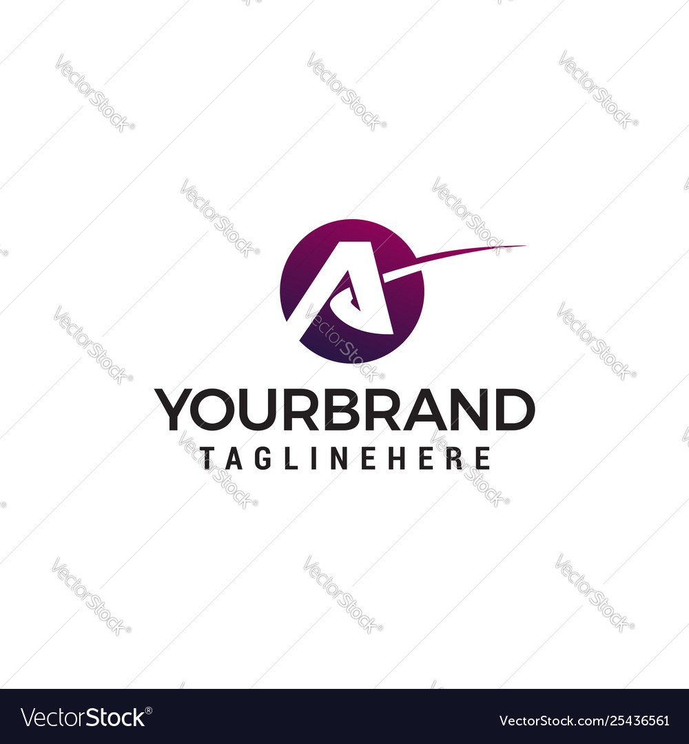 Letter a airplane logo design concept template