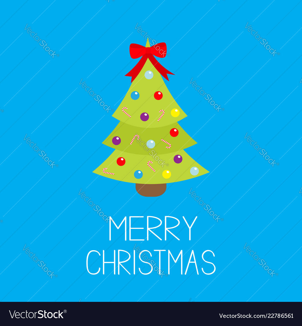 Merry christmas fir-tree icon red bow tip top