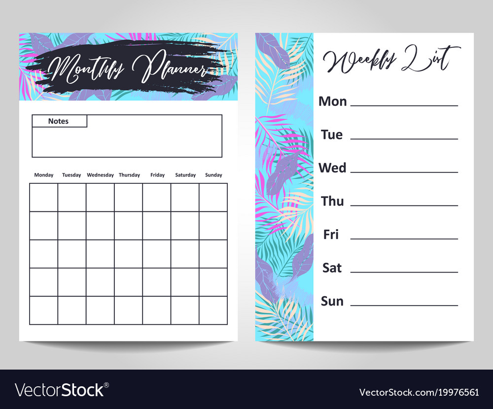 Modern monthly planner and weekly list template Vector Image