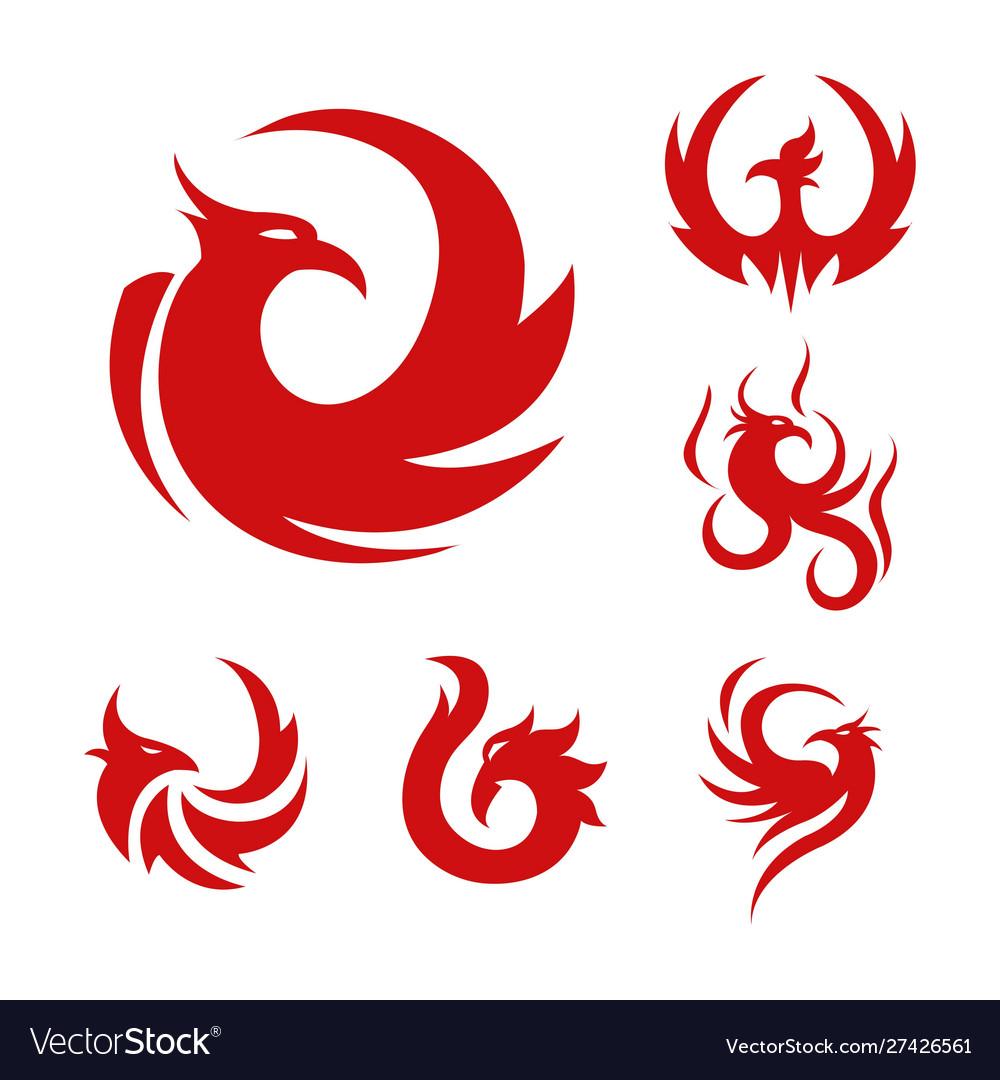 Phoenix bird stylized graphic red logo set six