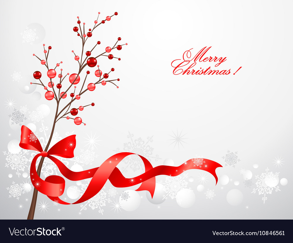 Red christmas berries on snow background