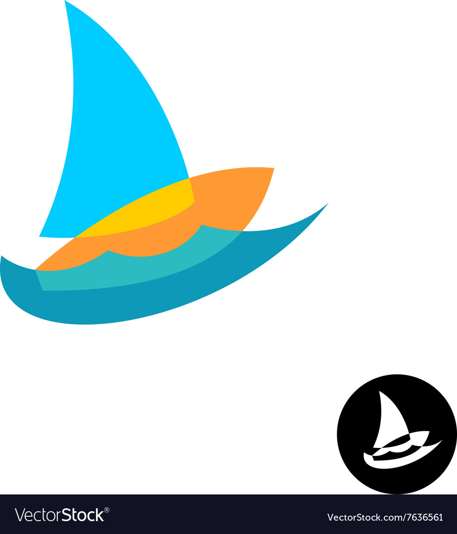 Sail boat yacht club colorful logo Overlay style