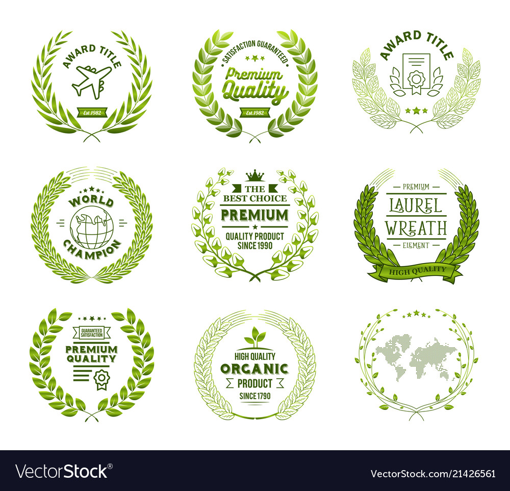 Set of laurel wreath templates