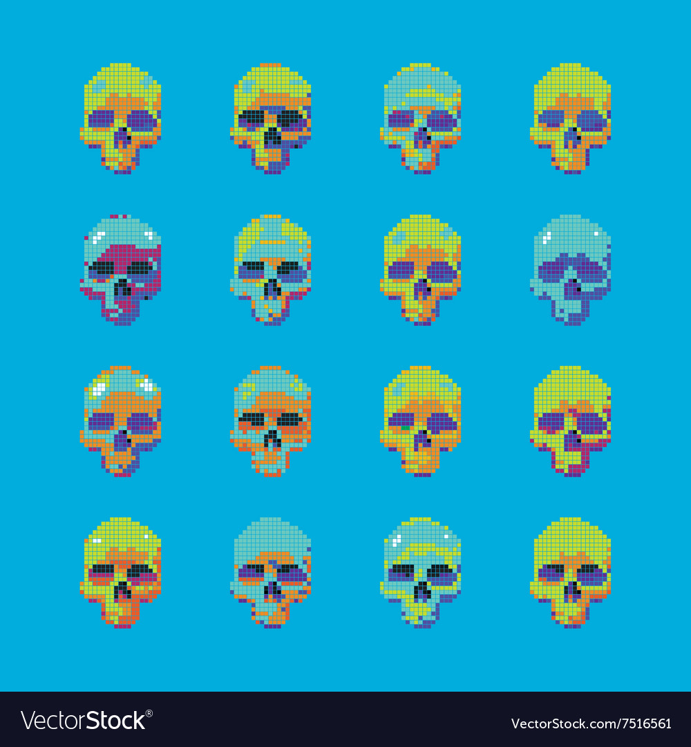 Set of stylized skull on a blue background
